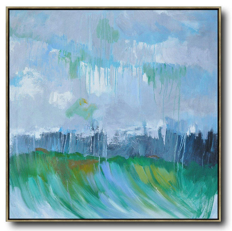 Example Of Abstract Painting,Large Abstract Art Handmade Painting,Oversized Abstract Landscape Oil Painting,Hand Painted Acrylic Painting,Gray,Green,Dark Blue.etc