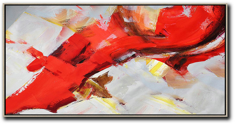 Abstract Artists And Their Work,Original Abstract Painting Extra Large Canvas Art,Horizontal Palette Knife Contemporary Art Panoramic Canvas Painting,Huge Canvas Art On Canvas,Red,White,Yellow.etc