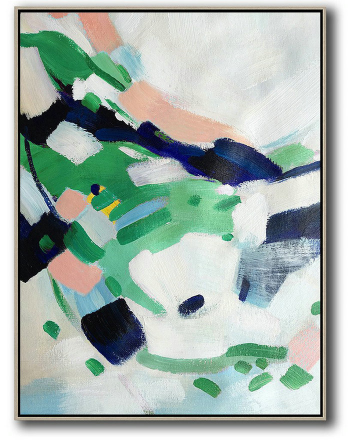 Images For Abstract Art,Large Abstract Painting On Canvas,Vertical Palette Knife Contemporary Art,Big Art Canvas,White,Green,Dark Blue.etc
