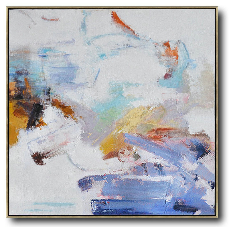 Artwork For Sale,Hand Painted Extra Large Abstract Painting,Oversized Abstract Oil Painting,Large Contemporary Art Canvas Painting,White,Blue,Gray,Yellow.etc