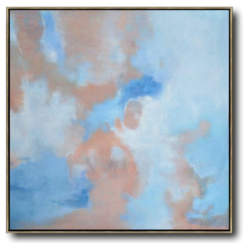 Canvas Art,Large Modern Abstract Painting,Oversized Abstract Landscape Oil Painting,Acrylic Minimailist Painting,Blue,Pink,White.etc