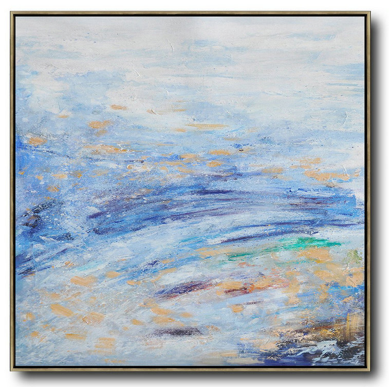 Modern Abstract Art Images,Large Abstract Painting,Oversized Abstract Landscape Oil Painting,Hand Painted Aclylic Painting On Canvas,Blue,White,Blue.etc