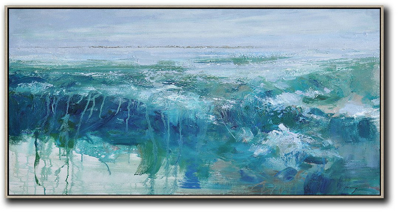 White Gold Abstract Art,Hand Painted Extra Large Abstract Painting,Panoramic Abstract Landscape Painting,Acrylic Painting On Canvas,Sky Blue,Green,Dark Blue.etc