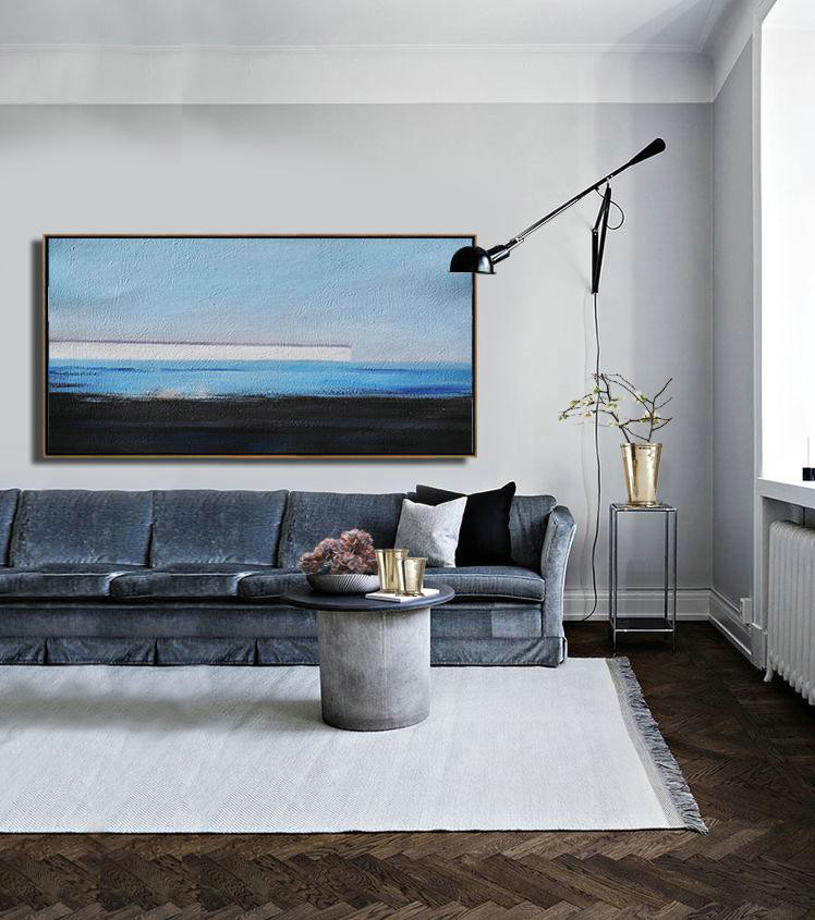 Original Abstract Artwork,Large Abstract Painting Canvas Art,Hand Painted Panoramic Abstract Painting,Living Room Canvas Art,Sky Blue,White,Blue,Black.etc
