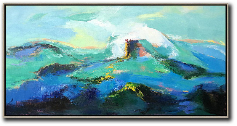 Contemporary Art Abstract Paintings,Hand Made Abstract Art,Horizontal Palette Knife Abstract Landscape Art Panoramic Canvas Painting,Large Canvas Wall Art For Sale,Blue,Green,White,Black.etc
