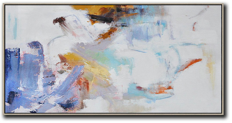 Original Art Paintings For Sale,Handmade Painting Large Abstract Art,Horizontal Abstract Art On Canvas,Living Room Wall Art,White,Blue,Grey,Earthy Yellow.etc