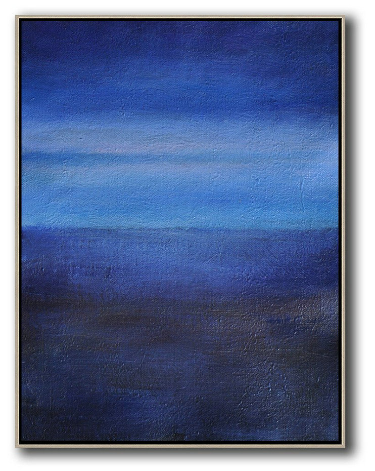 World Art Gallery,Original Painting Hand Made Large Abstract Art,Oversized Abstract Landscape Painting,Modern Wall Art,Dark Blue,Blue,White.etc