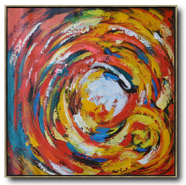 Hand Painted Canvas Art,Large Contemporary Art Acrylic Painting,Oversized Contemporary Art,Extra Large Paintings,Red,White,Yellow,Blue.etc