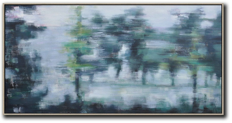 Painting Artwork,Hand Painted Extra Large Abstract Painting,Panoramic Abstract Landscape Painting,Abstract Painting On Canvas,Grey,Dark Green,Black.etc