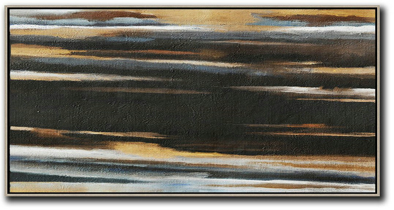 Landscape Painting,Abstract Painting Extra Large Canvas Art,Hand Painted Panoramic Abstract Painting,Abstract Oil Painting,Earthy Yellow ,Black,White.etc