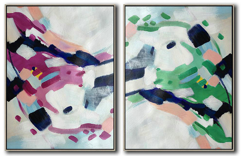 Abstract Painting Meaning,Handmade Large Painting,Set Of 2 Abstract Painting On Canvas,Extra Large Wall Art,White,Pink,Purple,Green,Dark Blue.etc