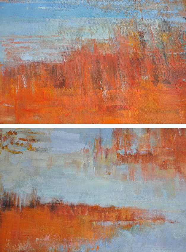 Abstract Art Poster Prints,Large Abstract Painting,Oversized Abstract Landscape Oil Painting,Modern Wall Decor,Orange,Blue,Gray.etc