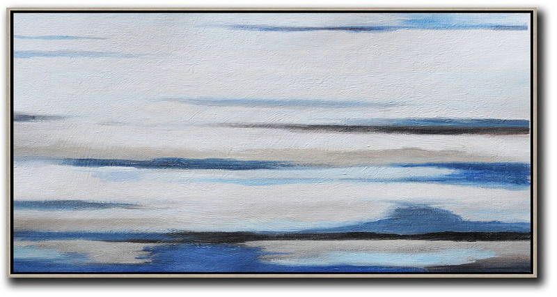 Abstract Shape Art,Extra Large Canvas Art,Hand Painted Panoramic Abstract Painting,Modern Paintings,White,Grey,Blue,Black.etc