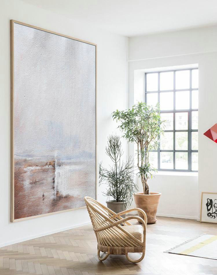 Modern Art Design,Abstract Painting Extra Large Canvas Art,Oversized Abstract Landscape Painting,Huge Abstract Canvas Art,Grey,White,Pink.etc