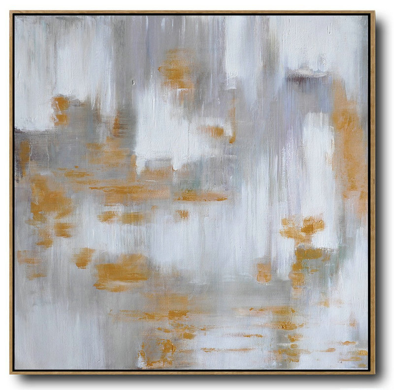 Abstract Art Shop,Extra Large Acrylic Painting On Canvas,Large Abstract Landscape Oil Painting On Canvas,Hand-Painted Canvas Art,Glod,White,Grey.etc