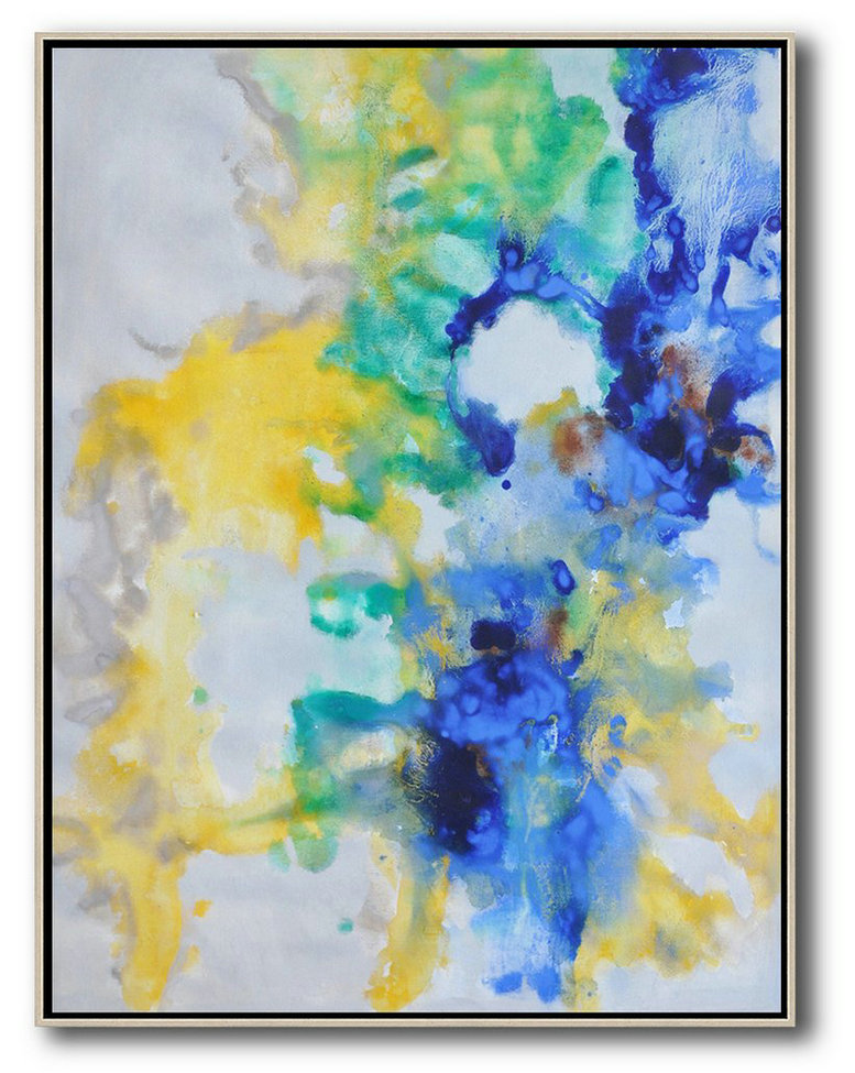 Abstract Art For Sale Cheap,Abstract Painting Extra Large Canvas Art,Oversized Abstract Landscape Painting,Hand Painted Abstract Art,Grey,Yellow,Green,Blue.etc