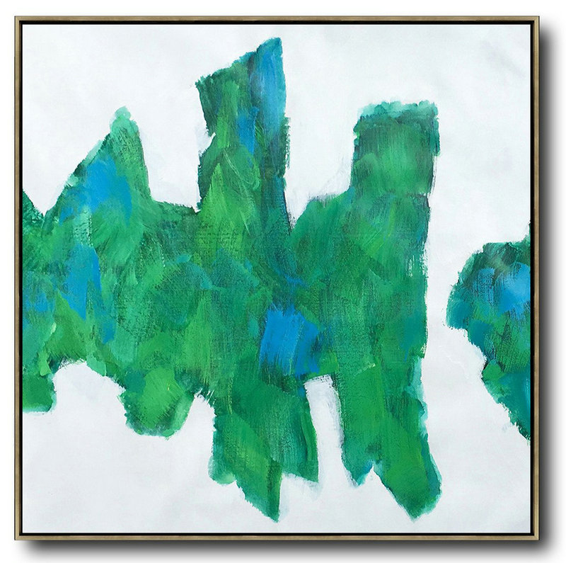 Art In America,Hand Painted Extra Large Abstract Painting,Oversized Contemporary Art,Big Art Canvas,White,Blue,Green.etc