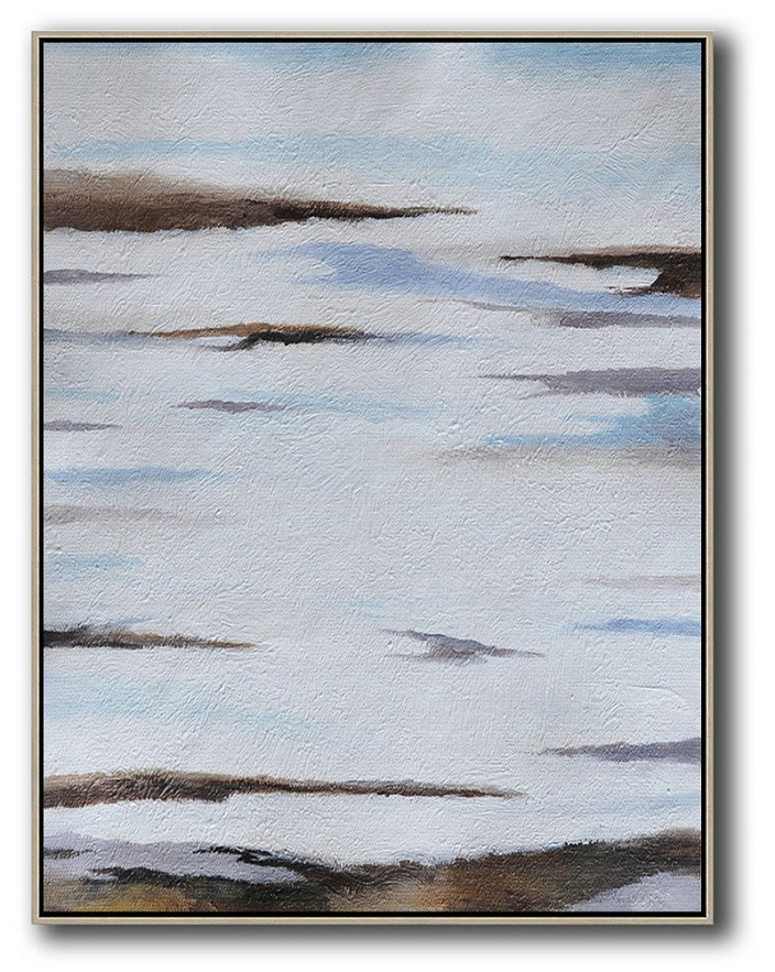 Paint Online,Large Abstract Art Handmade Painting,Oversized Abstract Landscape Painting,Contemporary Art Canvas Painting,Blue,White,Brown,Grey.etc