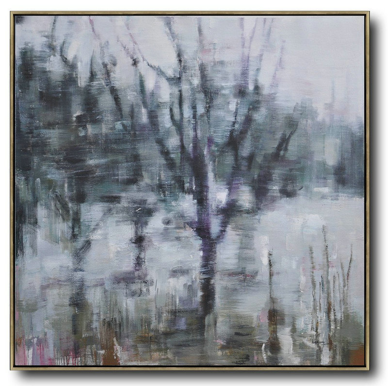 Art Posters For Sale,Large Contemporary Art Acrylic Painting,Abstract Landscape Oil Painting,Acrylic Painting On Canvas,White,Dark Green,Grey,Purple