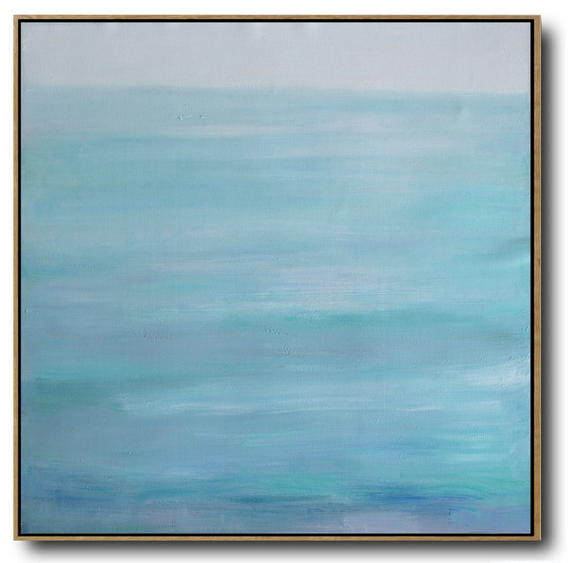 Abstract Art For Home,Handmade Painting Large Abstract Art,Large Abstract Landscape Oil Painting On Canvas,Modern Art Abstract Painting,Grey,Lake Blue,White