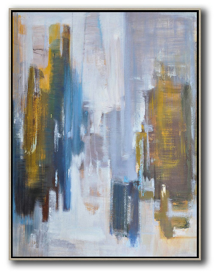 Black Canvas Art,Large Abstract Art Handmade Oil Painting,Abstract Landscape Painting,Original Art Acrylic Painting,White,Purple Grey,Yellow,Blue