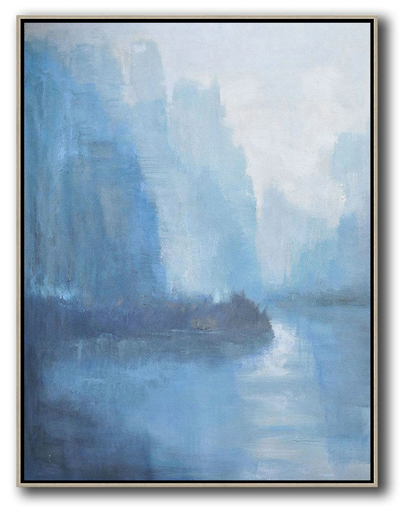 Oil Painting For Beginners,Original Artwork Extra Large Abstract Painting,Abstract Landscape Painting,Hand Paint Large Art,White,Blue,Grey