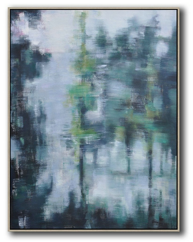 Canvas Art Online,Extra Large Painting,Abstract Landscape Painting,Art Work,White,Purple Grey,Black