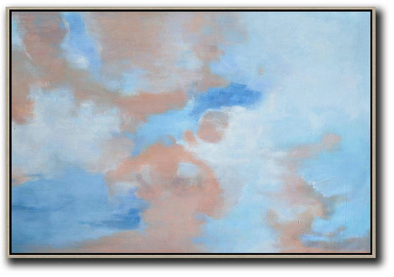 Cheap Paint,Handmade Large Contemporary Art,Horizontal Abstract Landscape Oil Painting On Canvas,Abstract Painting On Canvas,Blue,Pink,White