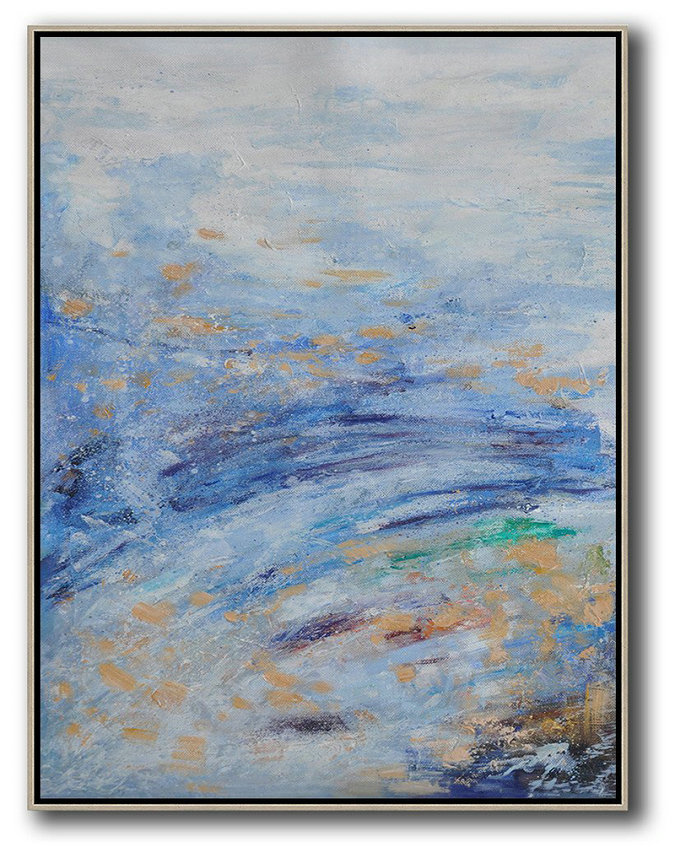 Abstract Oil Paintings For Sale,Handmade Large Contemporary Art,Abstract Landscape Painting,Oversized Canvas Art,Grey,Blue,Yellow