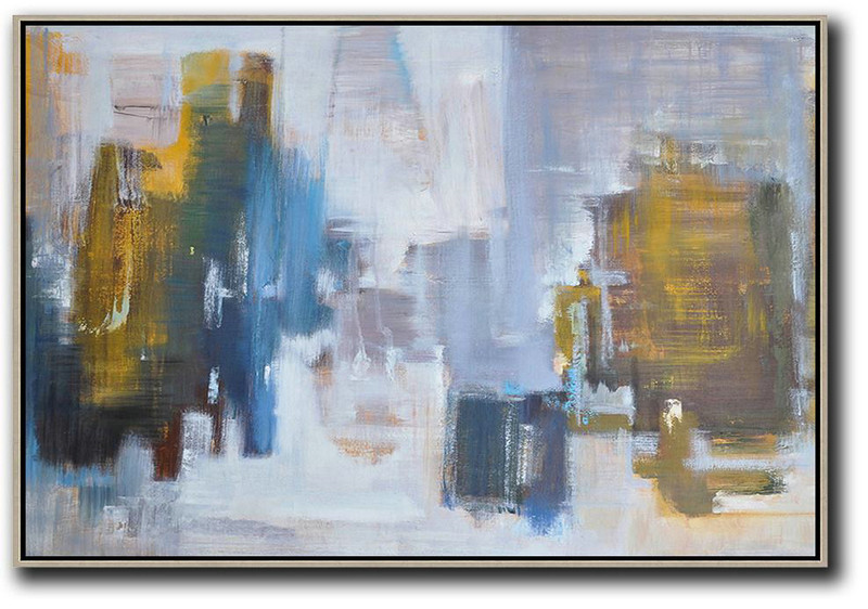 Art Gallery Website,Large Contemporary Art Acrylic Painting,Horizontal Abstract Landscape Oil Painting On Canvas,Textured Painting Canvas Art,Blue,White,Yellow,Purple Grey