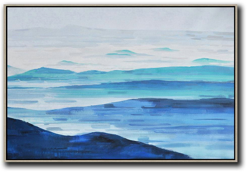 Abstract Art With Explanation,Hand Painted Extra Large Abstract Painting,Horizontal Abstract Landscape Oil Painting On Canvas,Hand Painted Abstract Art,Grey,White,Blue