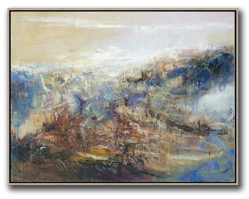 Large Canvas Wall Art For Sale,Huge Abstract Painting On Canvas,Abstract Landscape Oil Painting,Artwork For Sale,Light Yellow,Brown,Blue,White