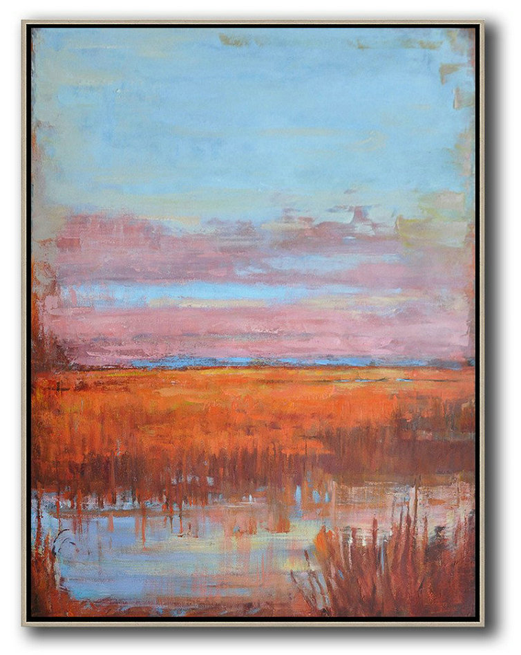 "Pop Art Canvas,Extra Large 72"" Acrylic Painting,Abstract Landscape Painting,Hand Painted Acrylic Painting,Sky Blue,Pink,Orange,Red"