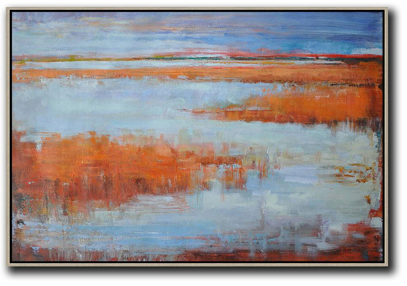 Extra Large Wall Prints,Original Painting Hand Made Large Abstract Art,Horizontal Abstract Landscape Oil Painting On Canvas,Canvas Artwork For Sale,Blue,Orange,Purple Grey,Red