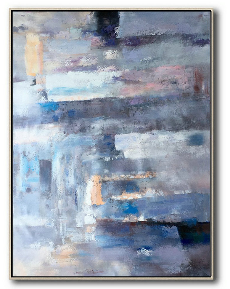 Original Modern Art,Abstract Painting On Canvas,Vertical Palette Knife Contemporary Art,Colorful Wall Art,Violet Ash,Grey,Blue,Pink.etc