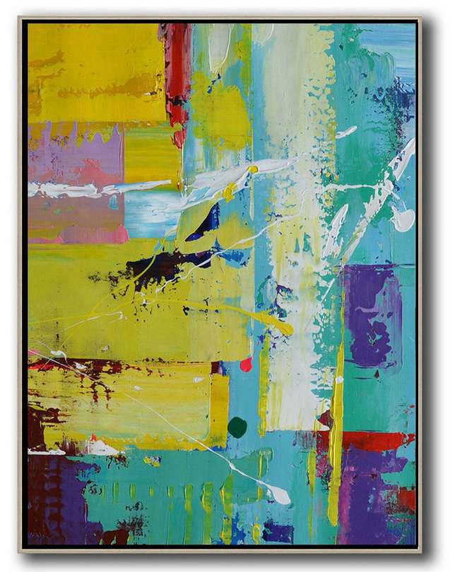 Modern Art Gallery,Hand Painted Extra Large Abstract Painting,Vertical Palette Knife Contemporary Art,Original Art Acrylic Painting,Sky Blue,Yellow,Purple,Red.etc