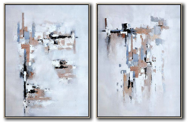Art Images,Large Abstract Art Handmade Oil Painting,Set Of 2 Contemporary Art On Canvas,Oversized Custom Canvas Art,White,Grey,Black,Earthy Yellow .etc