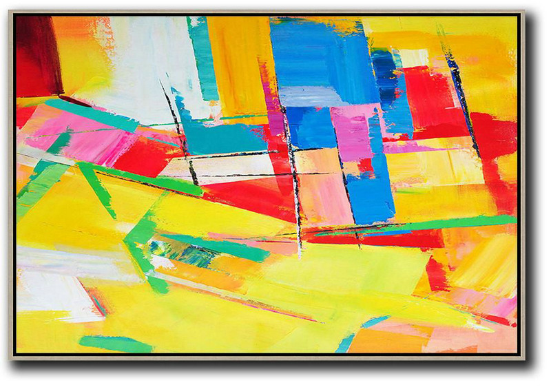 Cool Canvas Prints,Original Abstract Painting Extra Large Canvas Art,Horizontal Palette Knife Contemporary Art,Big Painting,Yellow,Red,Blue.etc
