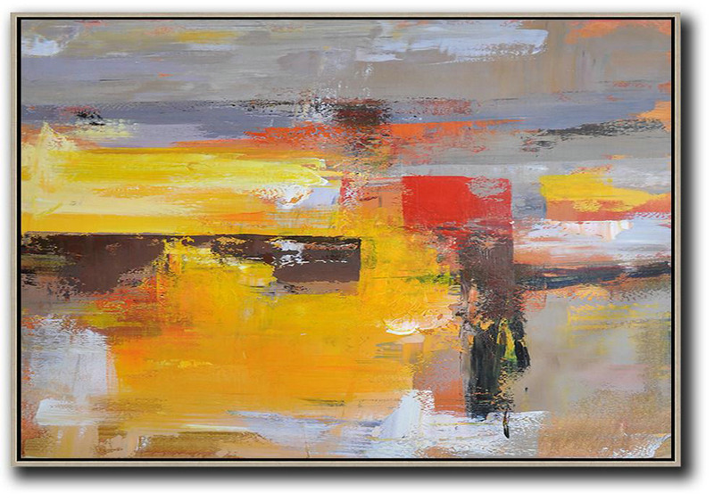 Fine Abstract Art,Family Wall Decor,Horizontal Palette Knife Contemporary Art,Canvas Paintings For Sale,Grey,Yellow,Red.etc