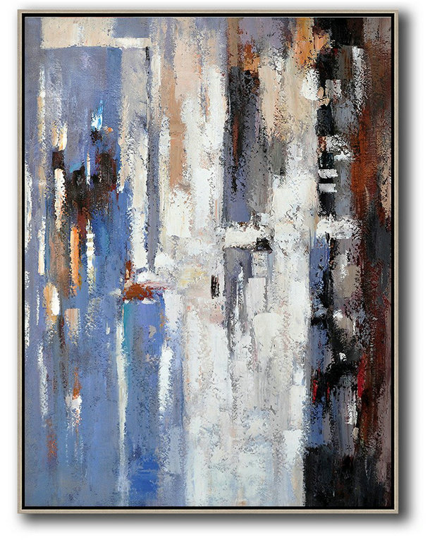 Portrait Artists,Large Contemporary Painting,Vertical Palette Knife Contemporary Art,Artwork For Sale,Blue,White,Grey,Red.etc