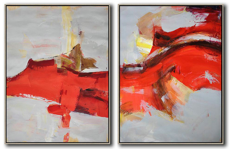 Abstract The Artist,Large Contemporary Art Acrylic Painting,Set Of 2 Contemporary Art On Canvas,Acrylic Painting On Canvas,Grey,Red,Brown,Yellow.etc