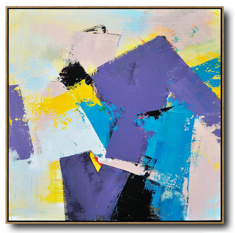 Contemporary Abstract Artwork,Oversized Canvas Art On Canvas,Palette Knife Contemporary Art Canvas Painting,Large Wall Canvas Paintings,Light Purple,Yellow,Nude,Sky Blue.etc