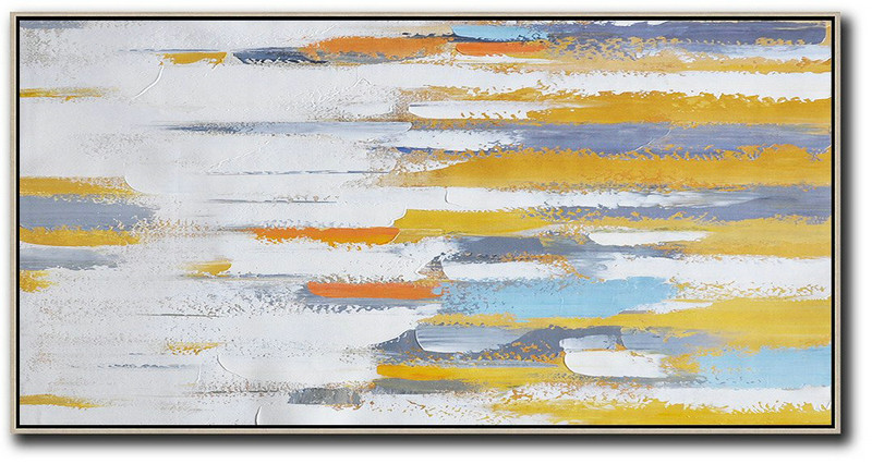 Modern Prints,Extra Large Abstract Painting On Canvas,Horizontal Palette Knife Contemporary Art,Personalized Canvas Art,White,Yellow,Orange,Blue.etc