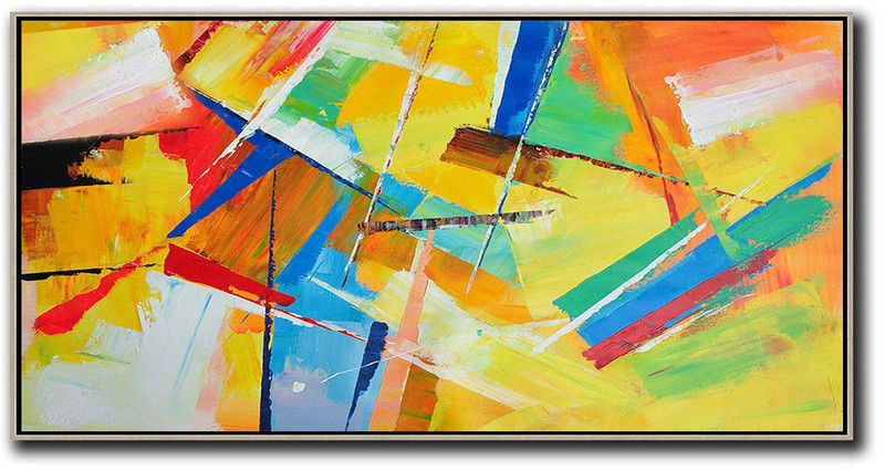 Abstract Art For Home,Handmade Painting Large Abstract Art,Horizontal Palette Knife Contemporary Art Panoramic Canvas Painting,Handmade Acrylic Painting,Yellow,Red,White,Blue,Green.etc