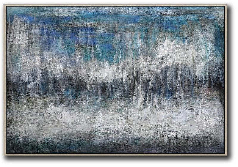 Paintings For Sale Online,Extra Large Painting,Oversized Horizontal Contemporary Art,Large Canvas Art,Blue,Grey,Black,White.etc