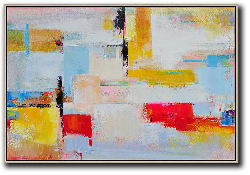 White And Gold Abstract Art,Abstract Painting Extra Large Canvas Art,Horizontal Palette Knife Contemporary Art,Abstract Artwork Online,Yellow,White,Red.etc