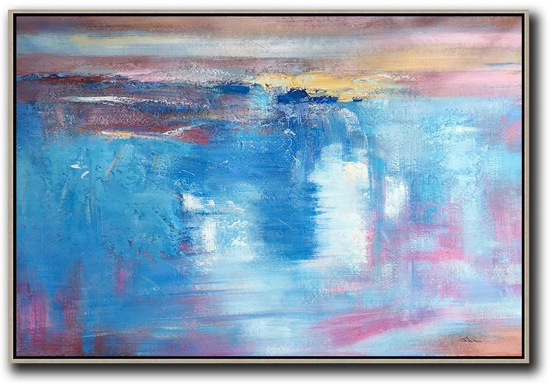 X Large Canvas Art,Large Abstract Art,Oversized Horizontal Contemporary Art,Large Abstract Art Handmade Acrylic Painting,Blue,Pink,Yellow,White.etc