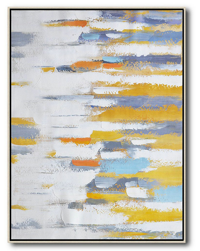 Large Art,Contemporary Wall Art,Vertical Palette Knife Contemporary Art,Large Living Room Decor,White,Yellow,Purple.etc