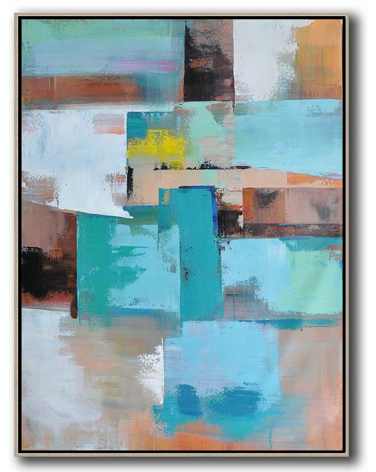 New Abstract Artists,Acrylic Minimailist Painting,Vertical Palette Knife Contemporary Art,Xl Large Canvas Art,Green,Blue,Brown,Beige,Yellow.etc