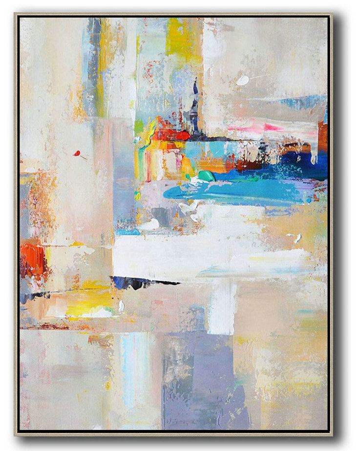 Line Abstract Art,Large Abstract Art,Vertical Palette Knife Contemporary Art,Acrylic Painting On Canvas,Beige,White,Blue,Red,Yellow,Pink.etc